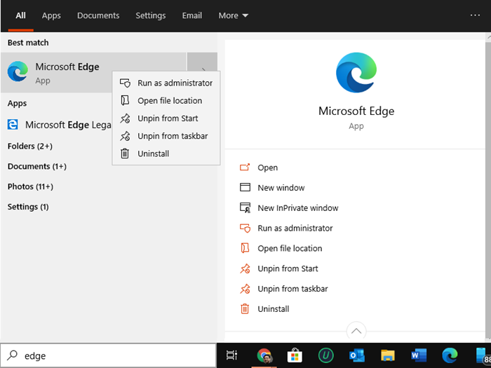 uninstall Microsoft edge
